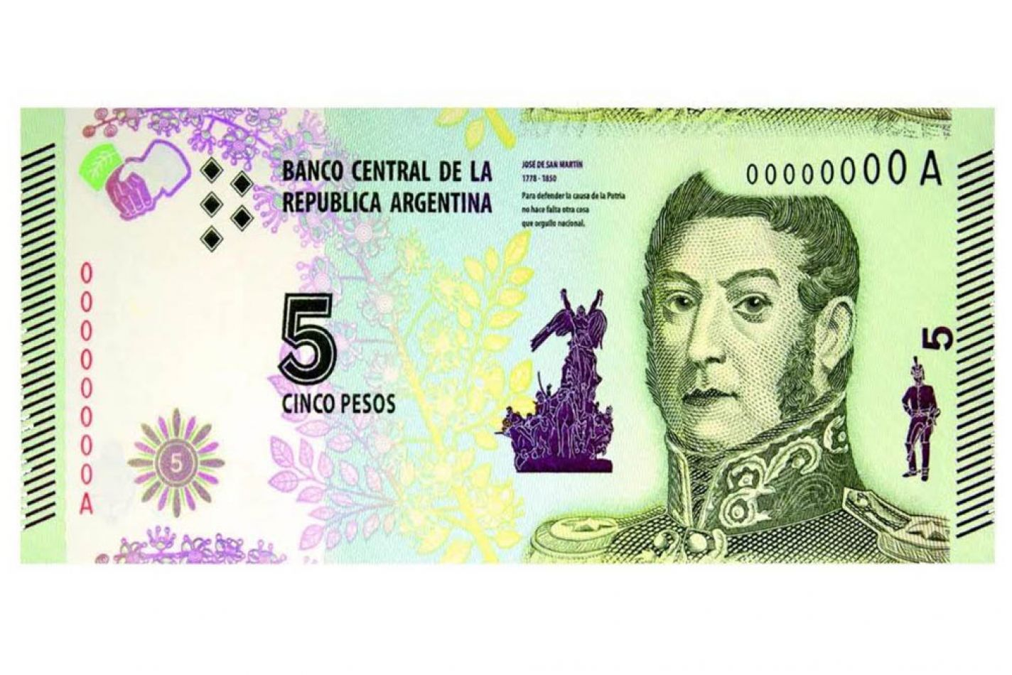 Se estira la vigencia del billete de 5 pesos