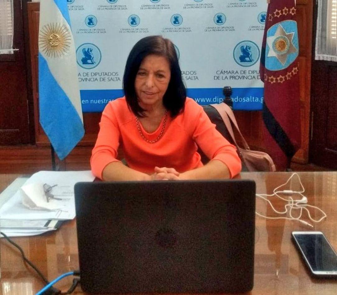 Nora Giménez sesionando online desde la Legislatura Provincial